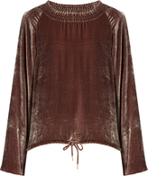 See by Chloe Smocked-neck velvet top