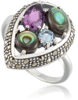 Macy's Marcasite and Amethyst (1-1/4 ct. tw.), Abalone (9/10 ct. t.w.) and Blue topaz (1/4 ct. t.w.) Teardrop Ring in Sterling Silver