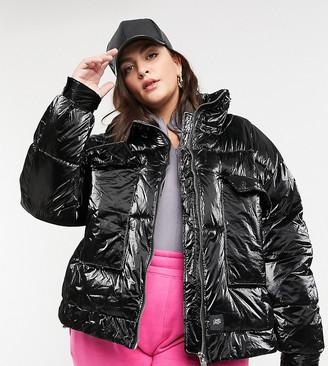 Sixth June Plus oversized vinyl puffer jacket