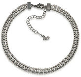 ABS by Allen Schwartz Three Row Hematite-Tone and Crystal Necklace