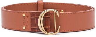 Chloé Logo-Embellished Crocodile-Effect Leather Belt