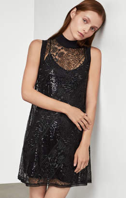 BCBGMAXAZRIA Semi-Sheer Lace Dress