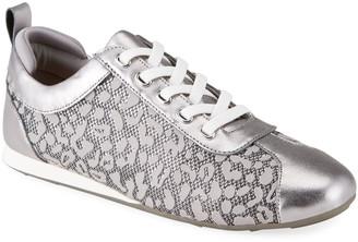Taryn Rose Silva Metallic Leopard Lace-Up Sneakers