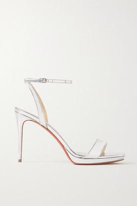 Christian Louboutin Loubi Queen 100 Metallic Patent-leather Sandals - Silver