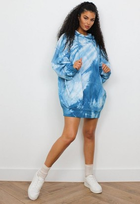 Missguided Blue Tie Dye Oversized Hooded Brushed Back Sweater Dress
