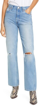 RE/DONE '90s Ripped High Waist Loose Straight Leg Jeans