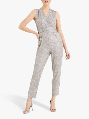 Phase Eight Frankie Foil Jumpsuit, Grey/Gold