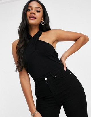 Club L London Club L twist front bodysuit in black