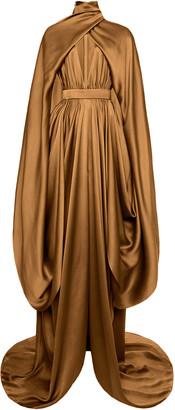 Balmain Cape-Effect Draped Silk Satin Gown
