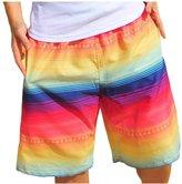 EkarLam® Mens Summer Rainbow Stripes Print Swim Shorts Beachwear Tropical Board Shorts US S (Asian L)