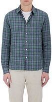 Barneys New York Men's Plaid Cotton Double-Faced Shirt-GREEN