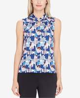Tahari ASL Printed Twist-Neck Keyhole Top, Regular and Petite