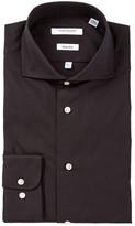Isaac Mizrahi Black Solid Long Sleeve Slim Fit Dress Shirt