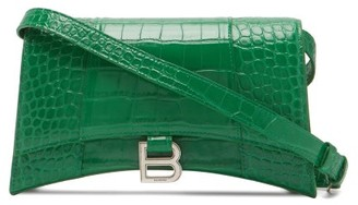 Balenciaga Hourglass Sling Crocodile-effect Leather Bag - Green