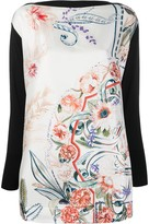 Salvatore Ferragamo floral panel knitted top