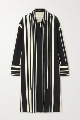Joseph Duras Striped Silk-crepe Midi Shirt Dress - Black
