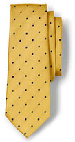 Lands' End Men's Long Silk Churchill Dot Necktie-Harvest Pine/White Dot