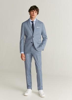 MANGO MAN - Slim fit Tailored herringbone-pattern shirt sky blue - S - Men
