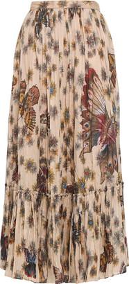 Valentino Gathered Printed Cotton-organza Maxi Skirt