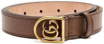 Gucci Gg Encased Buckle Grained Leather Belt - Mens - Brown