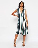 Asos Soft Wrap Dress In Stripe With D-Ring