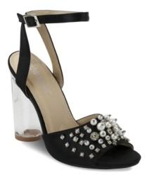 OLIVIA MILLER Stuyvesant Rhinestone Pearl Peep Toe Sandals Women's Shoes