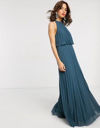 Asos Design DESIGN halter tie neck maxi dress in pleat-Green