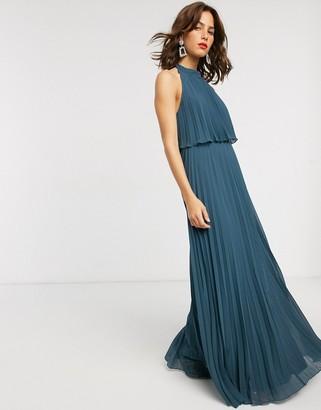 Asos DESIGN halter tie neck maxi dress in pleat