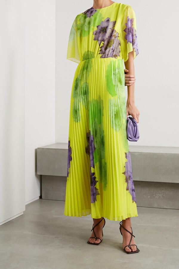 Jason Wu Pleated Floral-print Chiffon Maxi Dress - Yellow