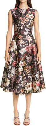 Adam Lippes Floral Jacquard Fit & Flare Midi Dress