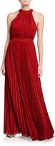 Alice + Olivia Kelissa Sunburst Pleated Maxi Halter Dress