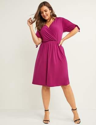 Lane Bryant Slash-Sleeve Fit & Flare Dress