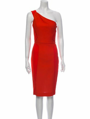 Roland Mouret One-Shoulder Knee-Length Dress Orange