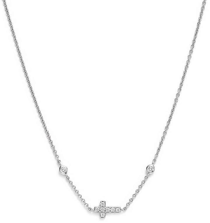 Bloomingdale's Mini Diamond Cross Necklace in 14K White Gold, .12 ct. t.w.