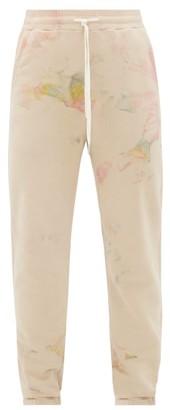 John Elliott La Marbled Cotton-terry Track Pants - Mens - Beige Multi