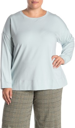 Eileen Fisher Crew Neck Long Sleeve T-Shirt (Plus Size)