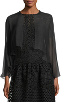 Rickie Freeman For Teri Jon Open-Front Long-Sleeve Sheer Silk Shrug