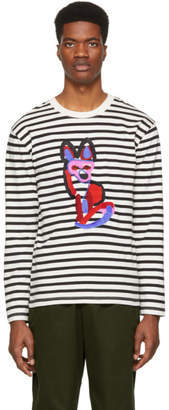 MAISON KITSUNÉ Black and White Acide Fox Marine Long Sleeve T-Shirt