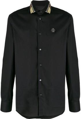 Philipp Plein Studded Camouflage Collar Shirt