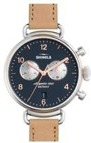Shinola 'The Canfield Chrono' Leather Strap Watch, 38mm