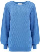 Sugarhill Brighton Seren Blue Lattice Balloon Sleeve Sweater