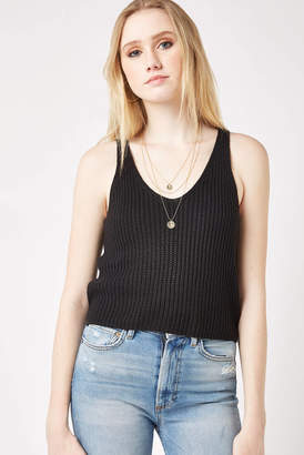 Abbeline Black Sweater Tank Top Black L