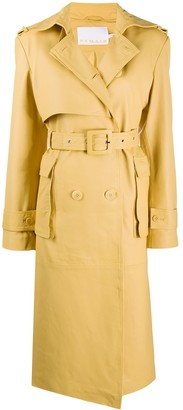 Remain Belted Leather Trench Coat