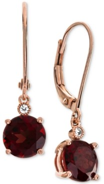 Macy's Amethyst (2-1/5 ct. t.w.) & Diamond Accent Drop Earrings in 14k Rose Gold (Also Available In Blue Topaz, Mystic Quartz, Citrine, & Garnet)
