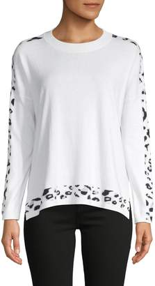 Brodie Whisper By Leopard-Print Cotton-Blend Sweater