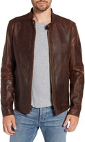 Schott NYC Cafe Racer Lightweight Oiled Cowhide Leather Jacket