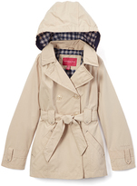 London Fog Khaki Plaid-Interior Tie-Waist Collared Rain Coat - Girls