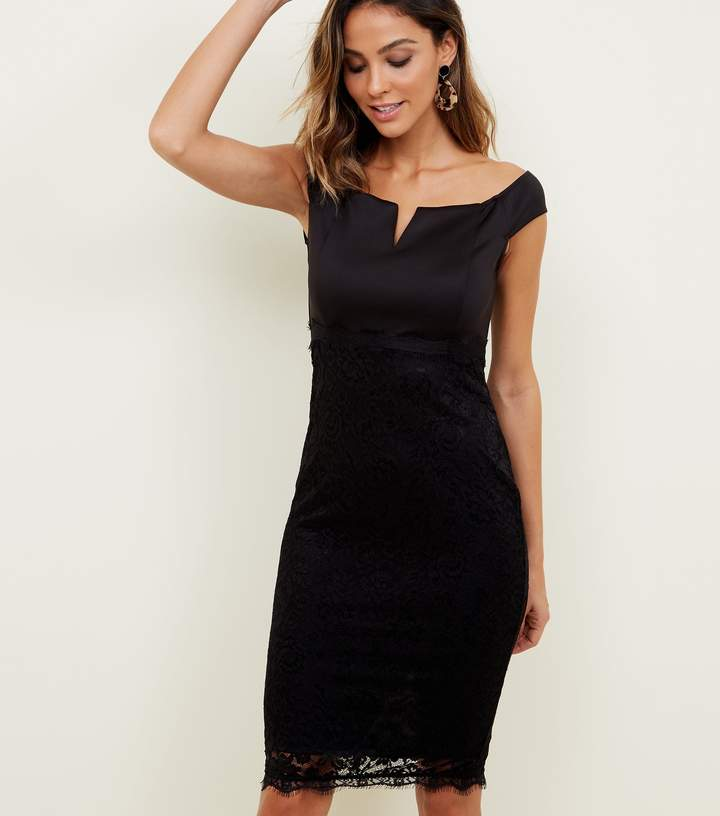 New Look AX Paris Notch Neck Satin and Lace Dress