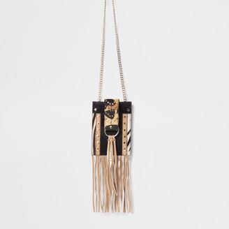 River Island Womens Brown anmal print leather cross body Handbag