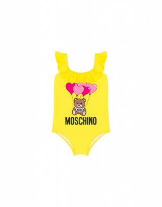 Moschino Heart Balloons Teddy Bear One-piece Swimsuit Woman Yellow Size 4a